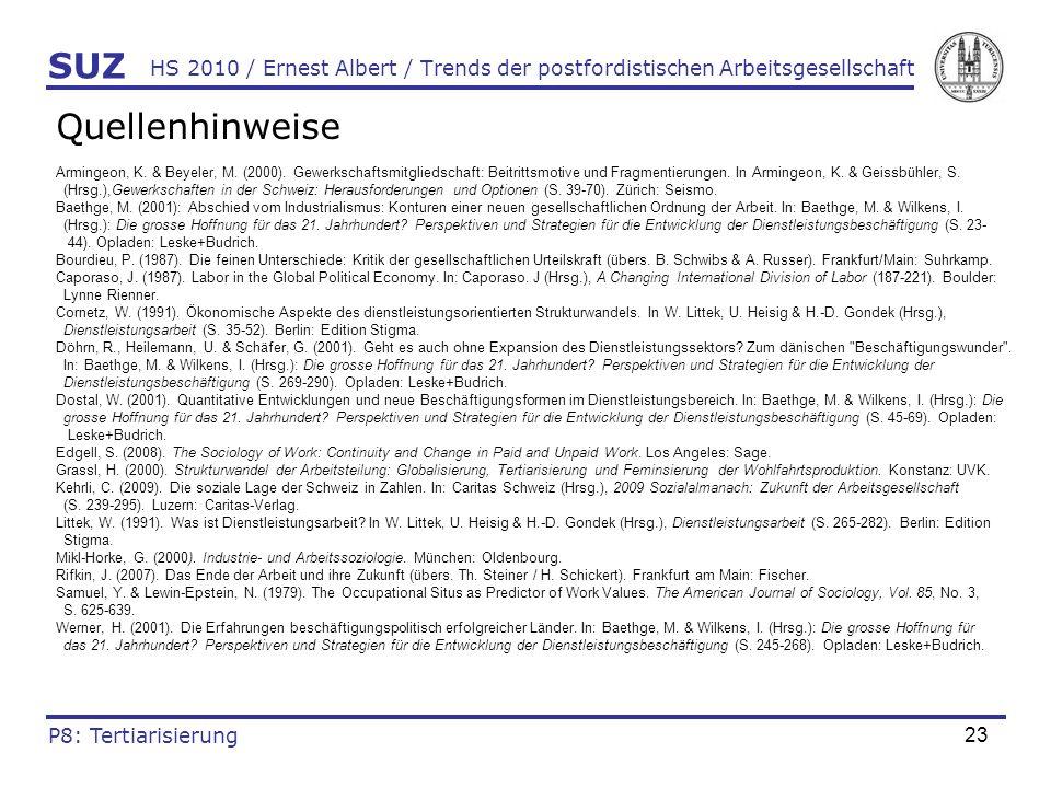 23 HS 2010 / Ernest Albert / Trends der postfordistischen Arbeitsgesellschaft Quellenhinweise Armingeon, K. & Beyeler, M. (2000). Gewerkschaftsmitglie