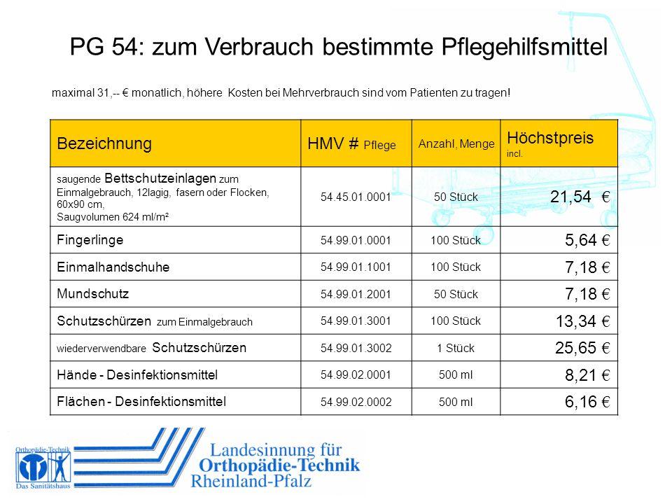 PG 54: zum Verbrauch bestimmte Pflegehilfsmittel maximal 31,-- monatlich, höhere Kosten bei Mehrverbrauch sind vom Patienten zu tragen! BezeichnungHMV