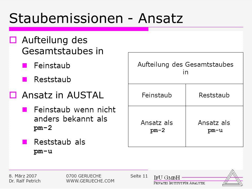 Seite 118. März 2007 Dr. Ralf Petrich 0700 GERUECHE WWW.GERUECHE.COM Staubemissionen - Ansatz Aufteilung des Gesamtstaubes in Feinstaub Reststaub Ansa