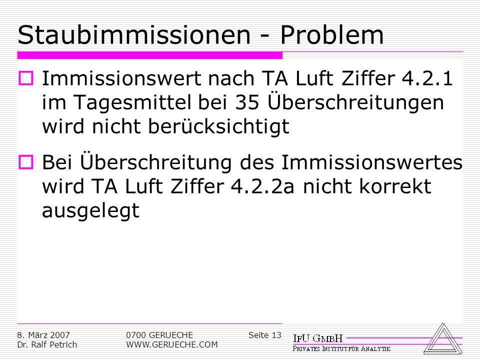 Seite 138. März 2007 Dr. Ralf Petrich 0700 GERUECHE WWW.GERUECHE.COM Staubimmissionen - Problem Immissionswert nach TA Luft Ziffer 4.2.1 im Tagesmitte