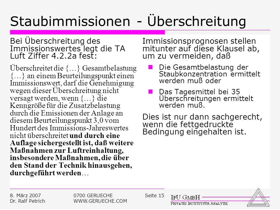 Seite 158. März 2007 Dr. Ralf Petrich 0700 GERUECHE WWW.GERUECHE.COM Staubimmissionen - Überschreitung Bei Überschreitung des Immissionswertes legt di