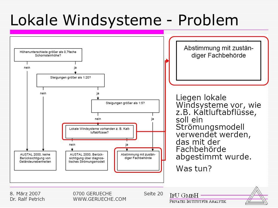 Seite 208. März 2007 Dr. Ralf Petrich 0700 GERUECHE WWW.GERUECHE.COM Lokale Windsysteme - Problem Liegen lokale Windsysteme vor, wie z.B. Kaltluftabfl
