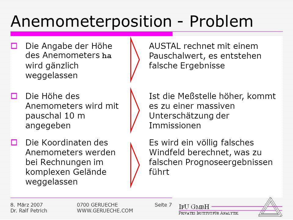 Seite 78. März 2007 Dr. Ralf Petrich 0700 GERUECHE WWW.GERUECHE.COM Anemometerposition - Problem Die Angabe der Höhe des Anemometers ha wird gänzlich