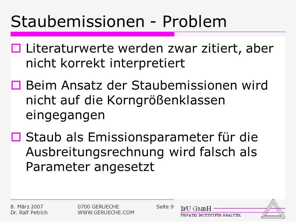 Seite 98. März 2007 Dr. Ralf Petrich 0700 GERUECHE WWW.GERUECHE.COM Staubemissionen - Problem Literaturwerte werden zwar zitiert, aber nicht korrekt i