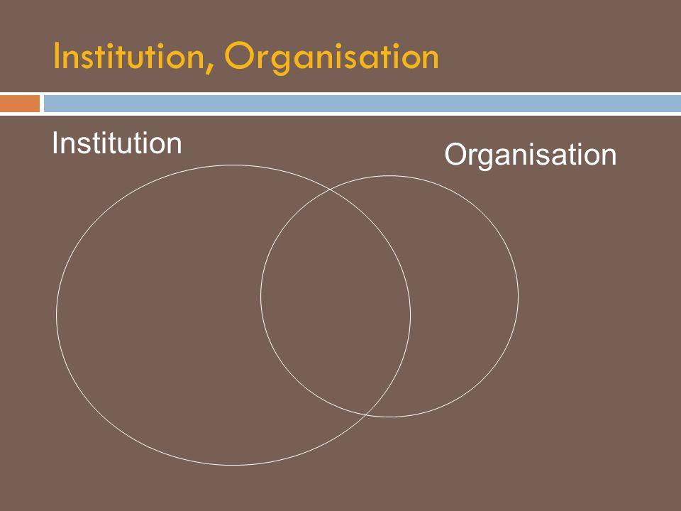 Institution, Organisation Institution Organisation