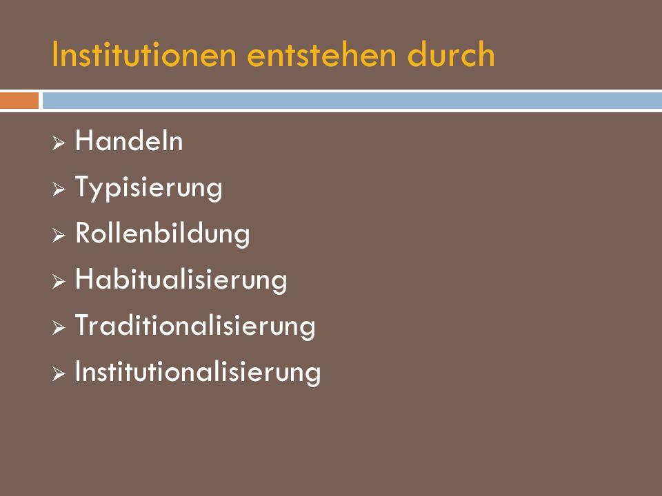 Institutionen entstehen durch Handeln Typisierung Rollenbildung Habitualisierung Traditionalisierung Institutionalisierung