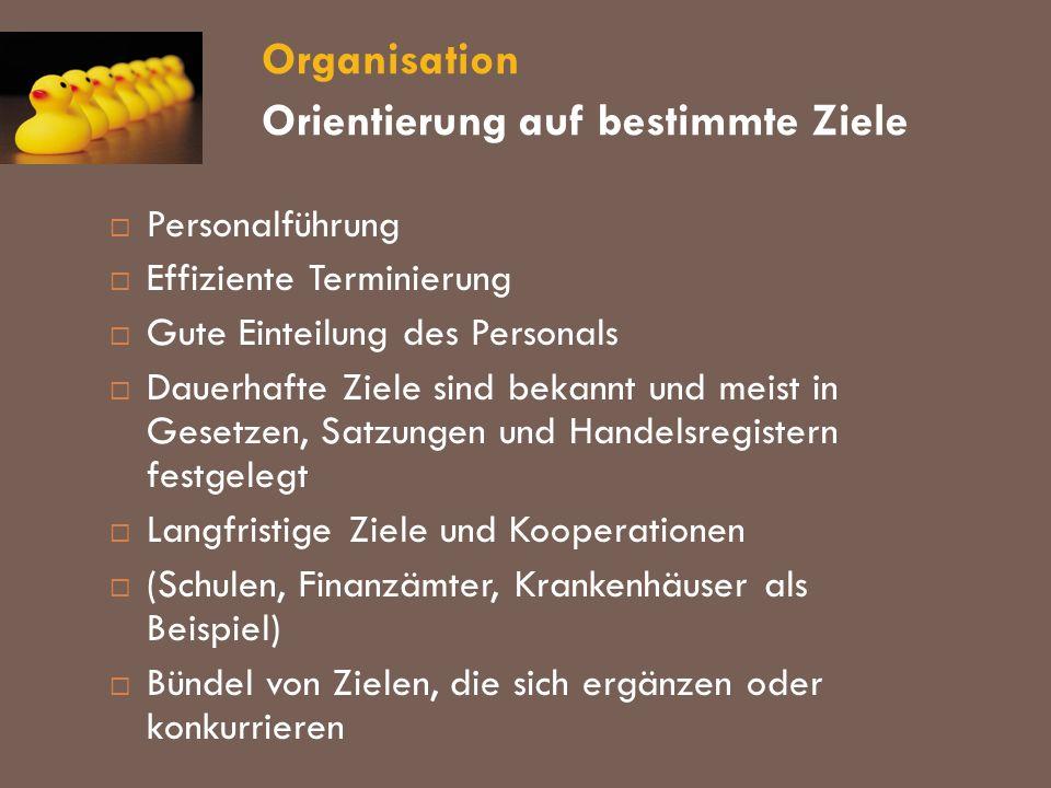 Organisation Orientierung auf bestimmte Ziele Personalführung Effiziente Terminierung Gute Einteilung des Personals Dauerhafte Ziele sind bekannt und