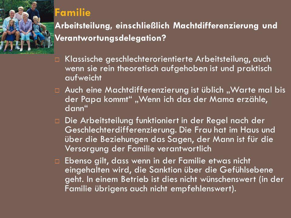 Familie Arbeitsteilung, einschließlich Machtdifferenzierung und Verantwortungsdelegation? Klassische geschlechterorientierte Arbeitsteilung, auch wenn