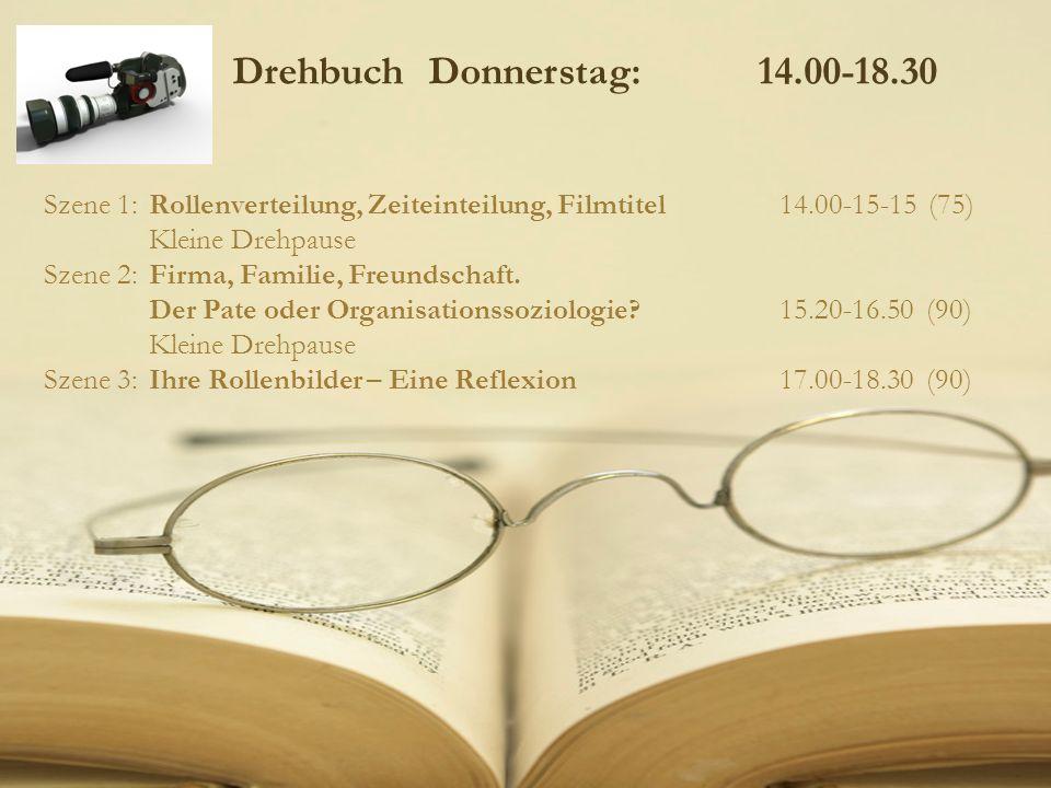 Drehbuch Donnerstag: 14.00-18.30 Szene 1: Rollenverteilung, Zeiteinteilung, Filmtitel14.00-15-15 (75) Kleine Drehpause Szene 2:Firma, Familie, Freunds