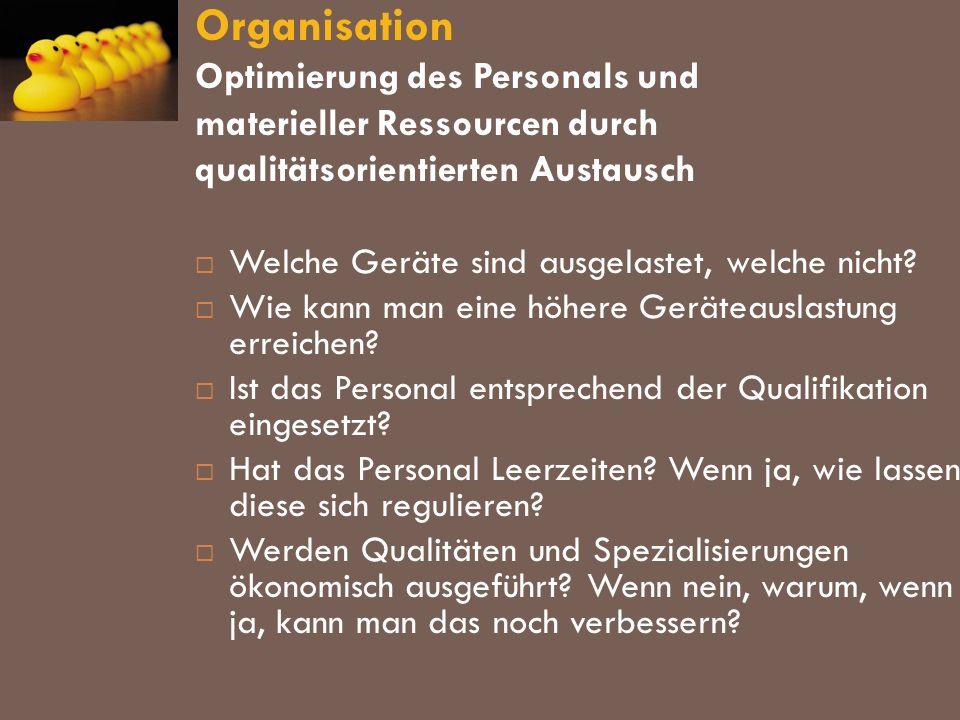 Organisation Optimierung des Personals und materieller Ressourcen durch qualitätsorientierten Austausch Welche Geräte sind ausgelastet, welche nicht?