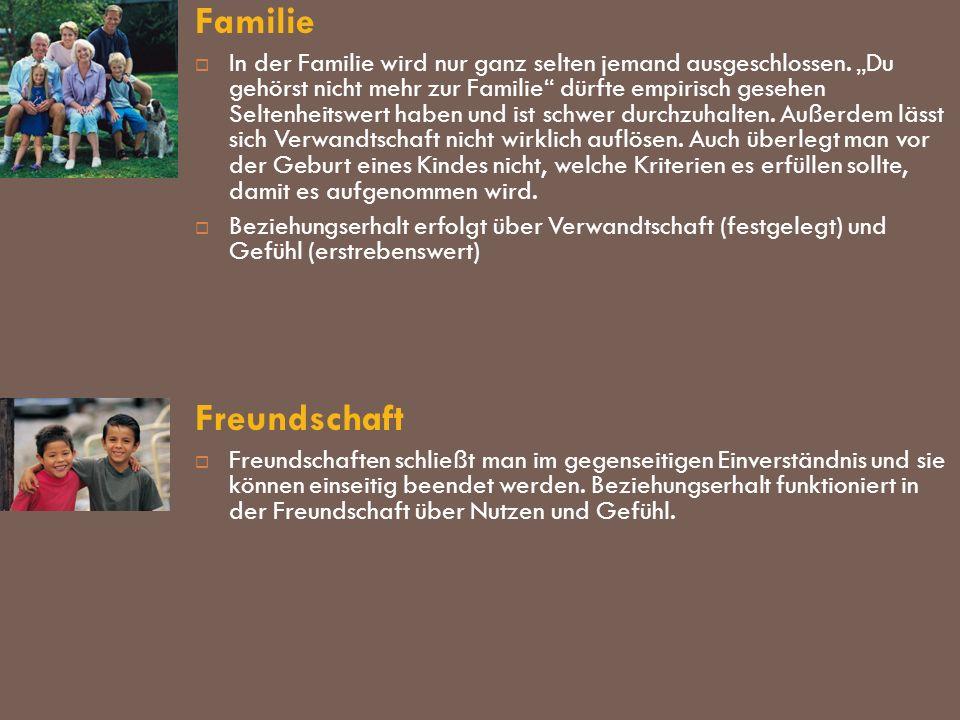 Familie In der Familie wird nur ganz selten jemand ausgeschlossen. Du gehörst nicht mehr zur Familie dürfte empirisch gesehen Seltenheitswert haben un
