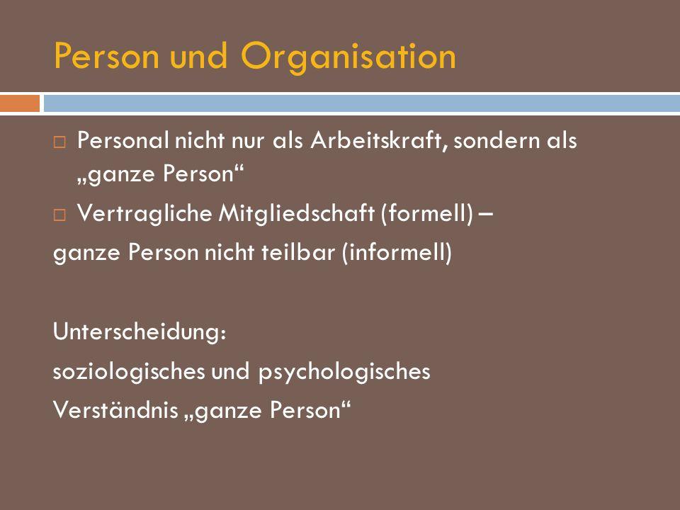 Person und Organisation Personal nicht nur als Arbeitskraft, sondern als ganze Person Vertragliche Mitgliedschaft (formell) – ganze Person nicht teilb