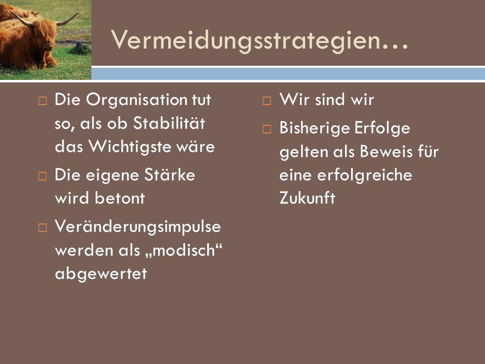 Vermeidungsstrategien… Die Organisation tut so, als ob Stabilität das Wichtigste wäre Die eigene Stärke wird betont Veränderungsimpulse werden als mod
