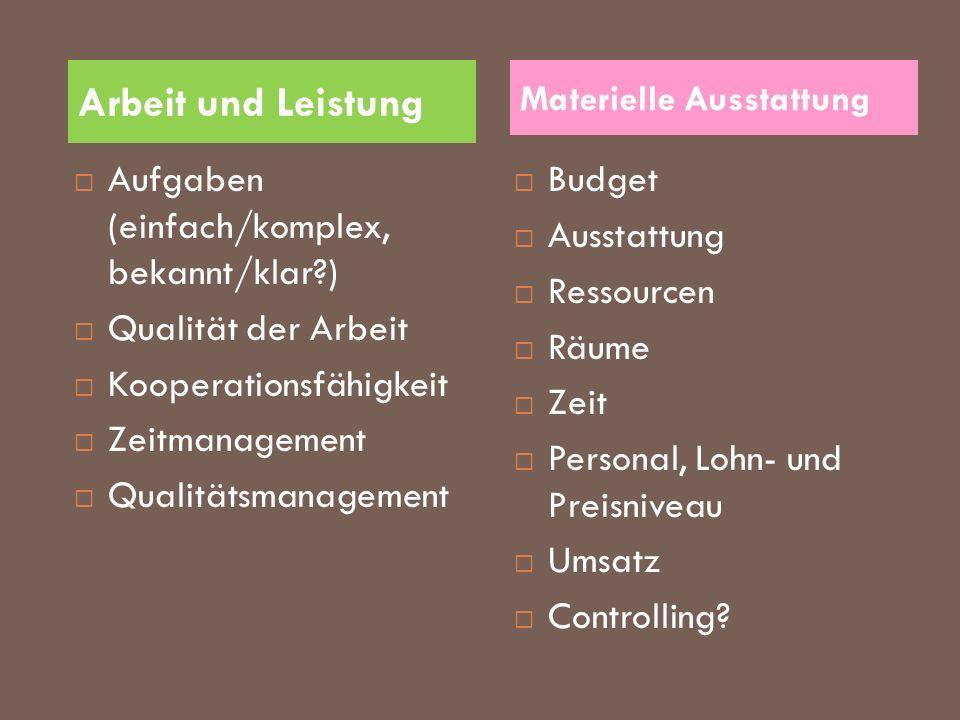 Aufgaben (einfach/komplex, bekannt/klar?) Qualität der Arbeit Kooperationsfähigkeit Zeitmanagement Qualitätsmanagement Budget Ausstattung Ressourcen R