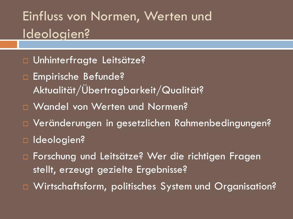 Einfluss von Normen, Werten und Ideologien? Unhinterfragte Leitsätze? Empirische Befunde? Aktualität/Übertragbarkeit/Qualität? Wandel von Werten und N