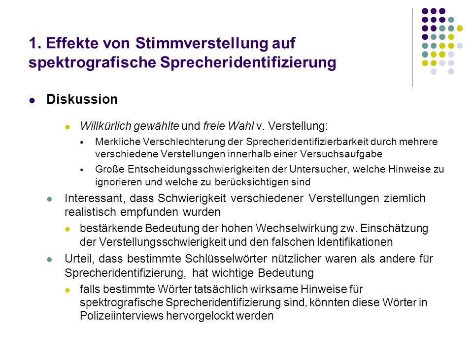 1. Effekte von Stimmverstellung auf spektrografische Sprecheridentifizierung Diskussion Willkürlich gewählte und freie Wahl v. Verstellung: Merkliche