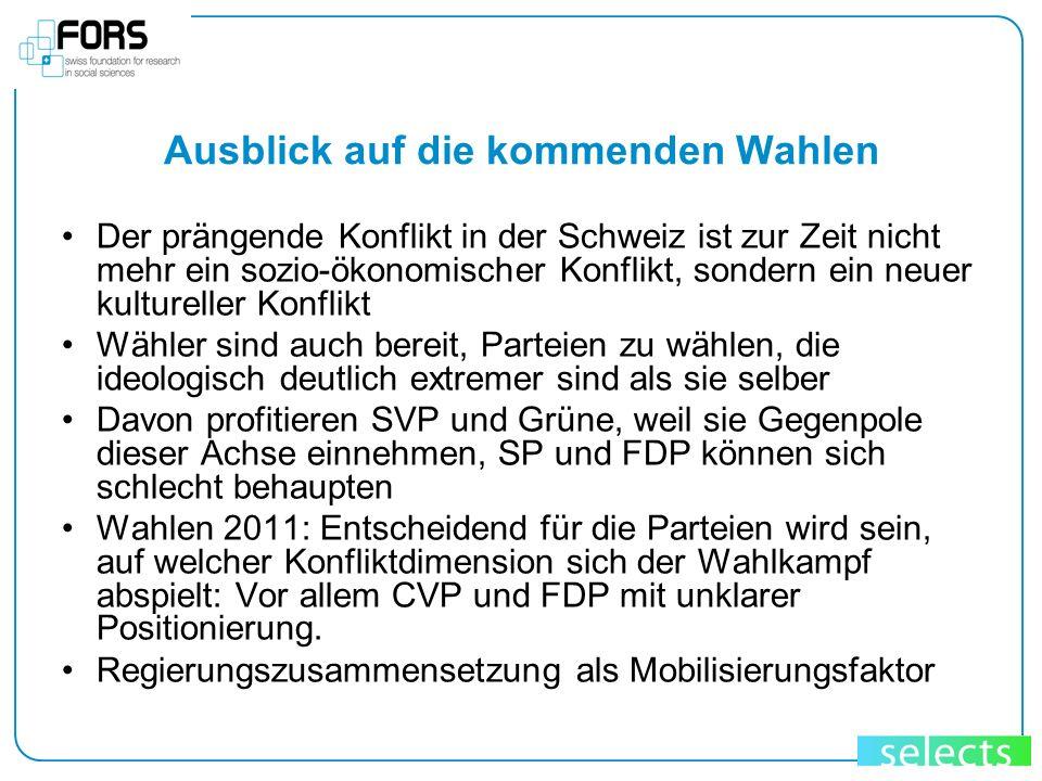 Ausblick auf die kommenden Wahlen Der prängende Konflikt in der Schweiz ist zur Zeit nicht mehr ein sozio-ökonomischer Konflikt, sondern ein neuer kul