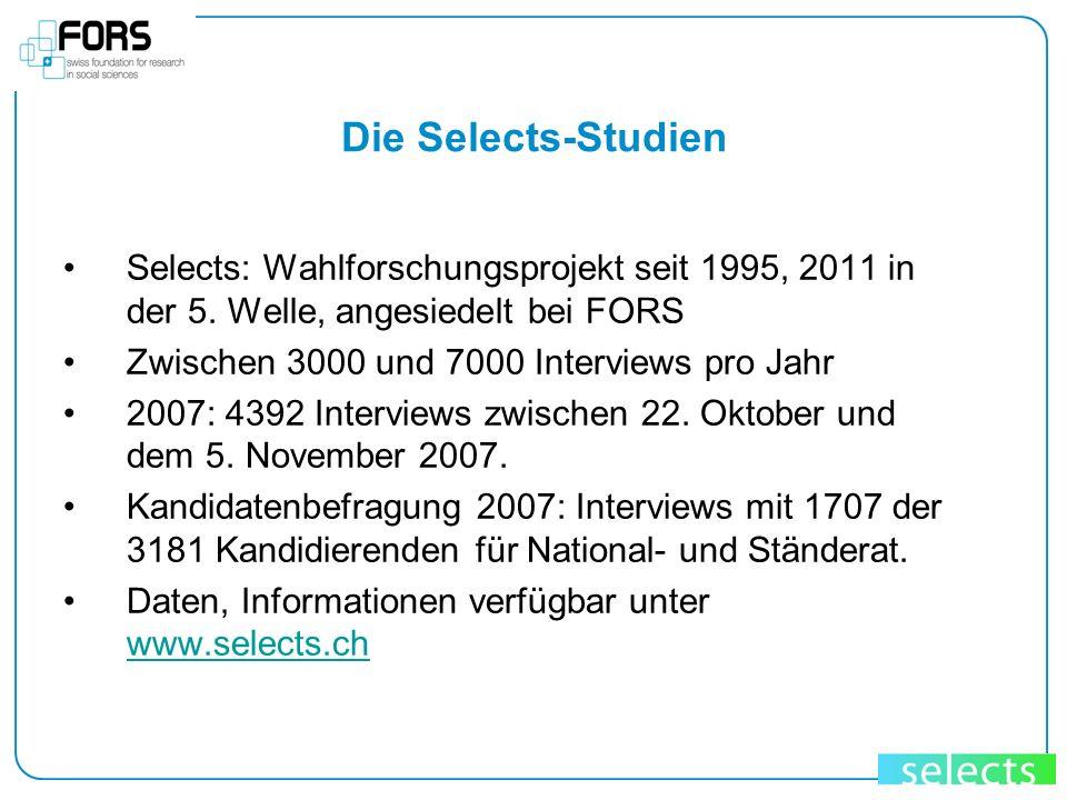Die Selects-Studien Selects: Wahlforschungsprojekt seit 1995, 2011 in der 5. Welle, angesiedelt bei FORS Zwischen 3000 und 7000 Interviews pro Jahr 20