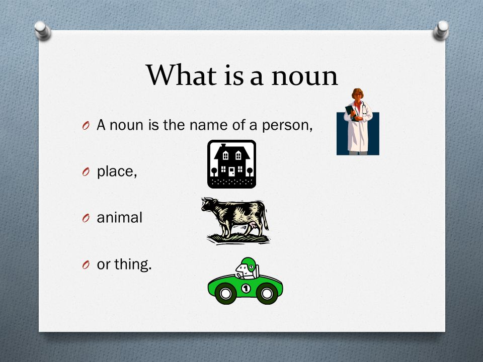 What is a noun O A noun is the name of a person, O place, O animal O or thing.