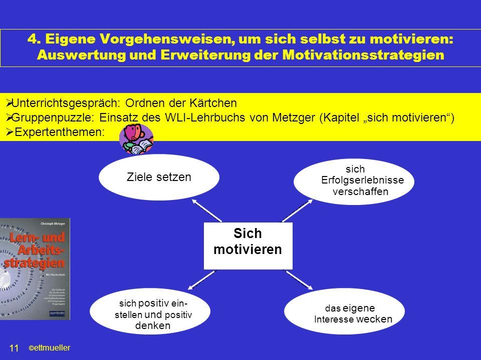 © ettmueller 11 4. Eigene Vorgehensweisen, um sich selbst zu motivieren: Auswertung und Erweiterung der Motivationsstrategien Unterrichtsgespräch: Ord