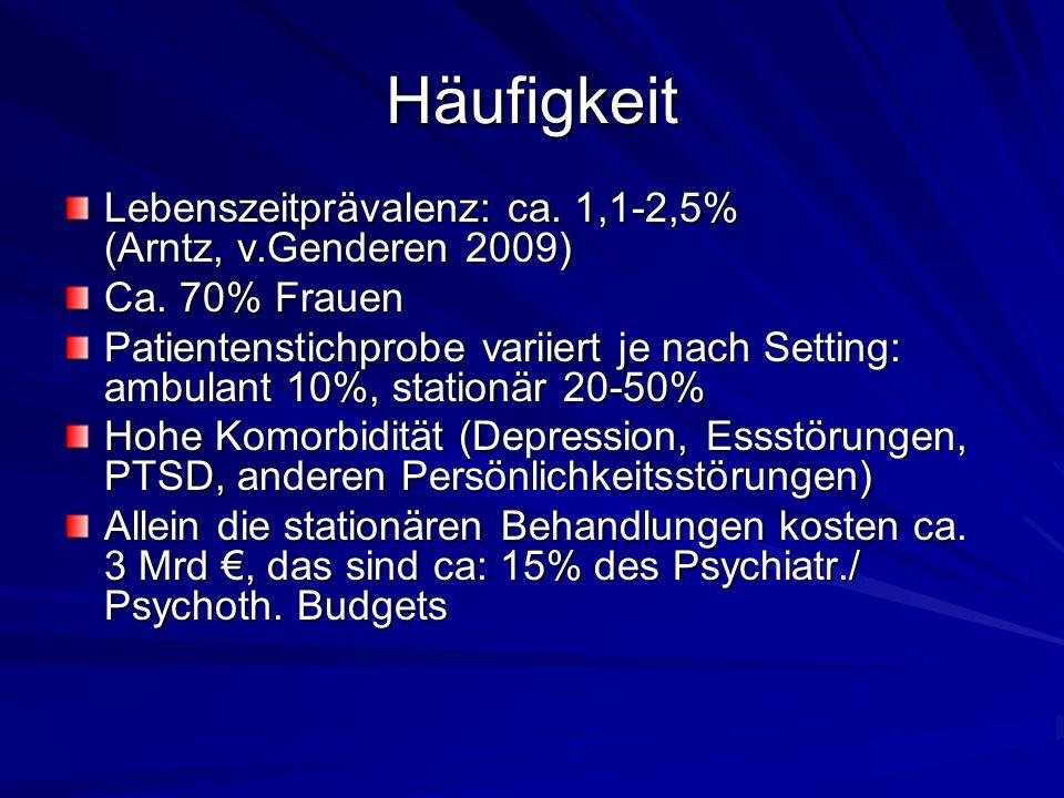 Häufigkeit Lebenszeitprävalenz: ca.1,1-2,5% (Arntz, v.Genderen 2009) Ca.