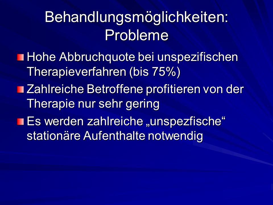 Behandlungsmöglichkeiten: Probleme Hohe Abbruchquote bei unspezifischen Therapieverfahren (bis 75%) Zahlreiche Betroffene profitieren von der Therapie nur sehr gering Es werden zahlreiche unspezfische stationäre Aufenthalte notwendig