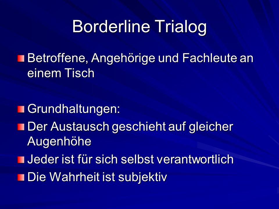 Borderline Trialog Betroffene, Angehörige und Fachleute an einem Tisch Grundhaltungen: Der Austausch geschieht auf gleicher Augenhöhe Jeder ist für sich selbst verantwortlich Die Wahrheit ist subjektiv