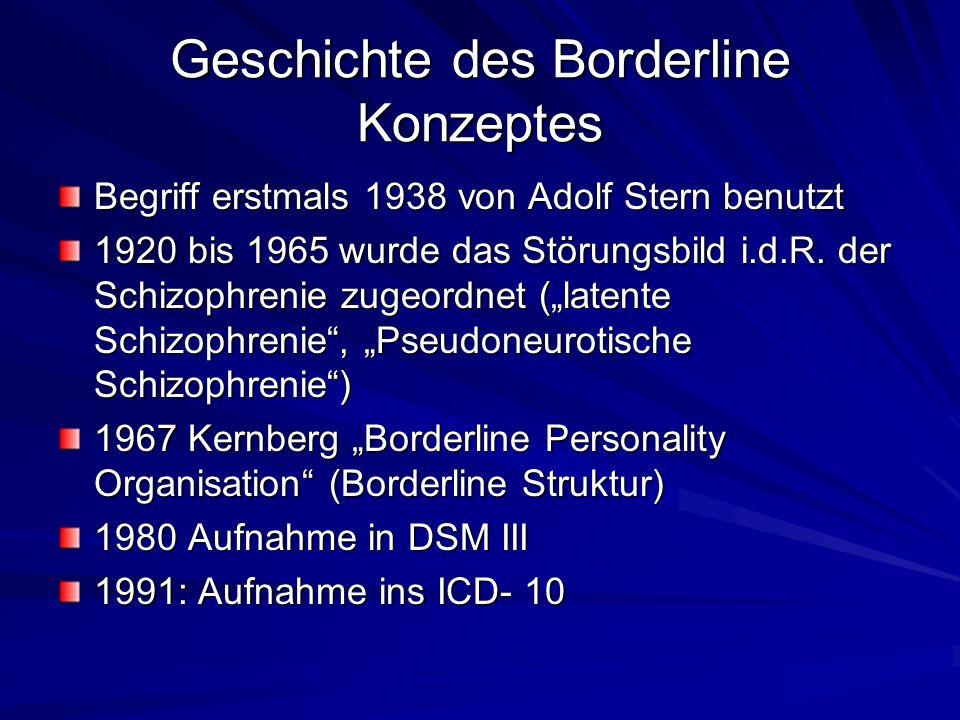 Geschichte des Borderline Konzeptes Begriff erstmals 1938 von Adolf Stern benutzt 1920 bis 1965 wurde das Störungsbild i.d.R.