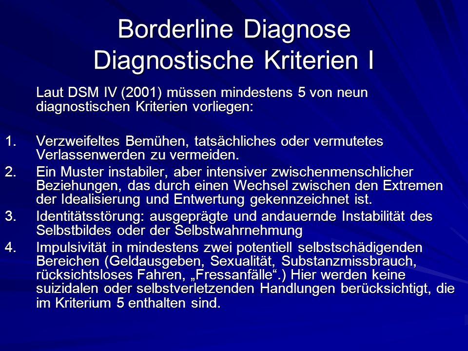 Borderline Diagnose Diagnostische Kriterien I Laut DSM IV (2001) müssen mindestens 5 von neun diagnostischen Kriterien vorliegen: 1.