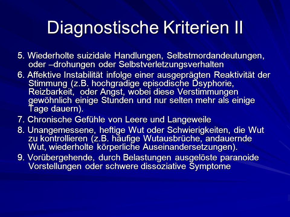 Evidenzbasierte Behandlungsmöglichkeiten Wirksamkeitsnachweise liegen für die Schematherapie und die Dialektisch- Behaviorale- Therapie vor.