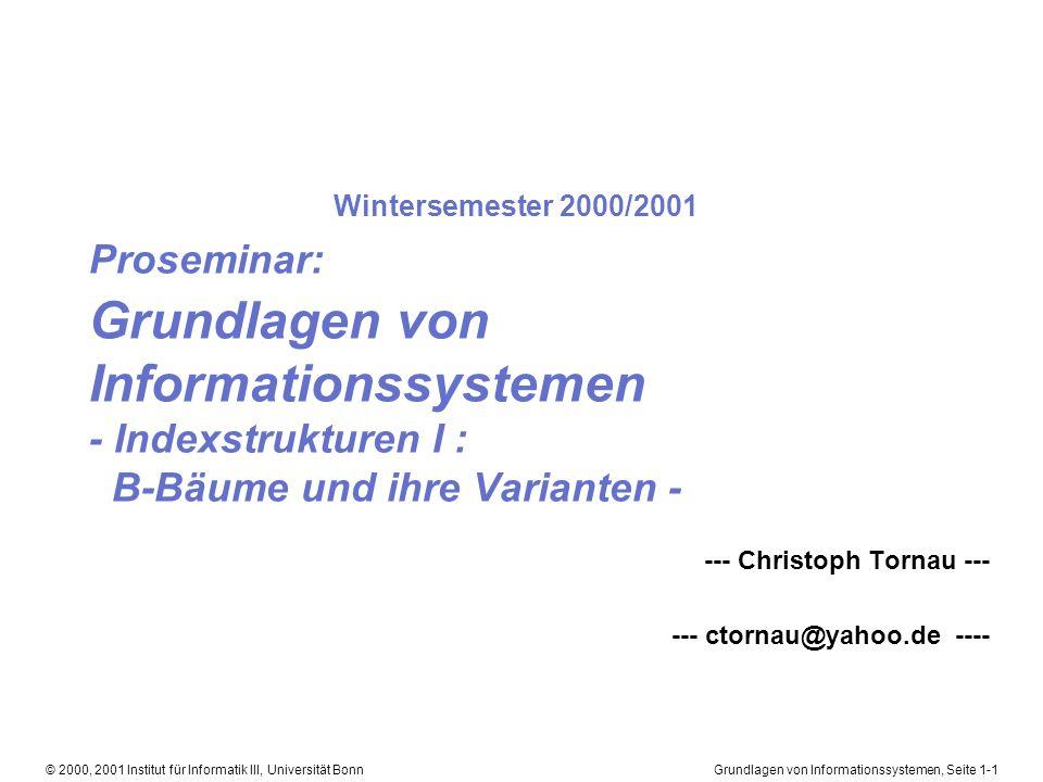 Grundlagen von Informationssystemen, Seite 1-22© 2000, 2001 Institut für Informatik III, Universität Bonn B-Bäume Aufbau (2) Gegenbeispiele: hochgradig nicht ausbalancierter Baum Binärer Baum (B-Baum, wenn er in jedem Blatt die gleiche Tiefe hat)
