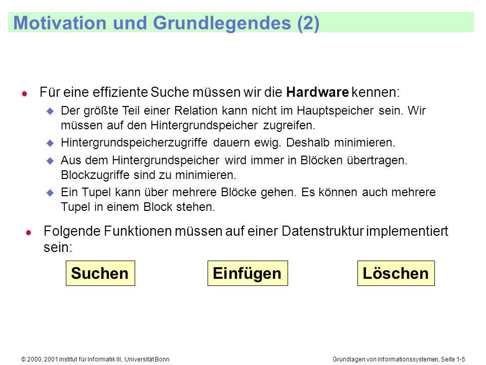 Grundlagen von Informationssystemen, Seite 1-26© 2000, 2001 Institut für Informatik III, Universität Bonn B-Bäume Einfügen und Löschen l Einfügen u Wir fügen ein, indem wir den Schlüssel suchen, der kleiner als der einzufügende Schlüssel ist und am nächsten dem Schlüsselwert des einzufügenden Schlüssels liegt.