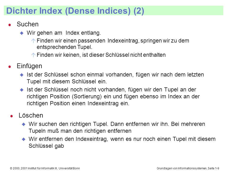 Grundlagen von Informationssystemen, Seite 1-10© 2000, 2001 Institut für Informatik III, Universität Bonn Dichter Index (Dense Indices) (3) l Vorteile u Nur die Schlüssel müssen aus dem Hintergrundspeicher gelesen werden.