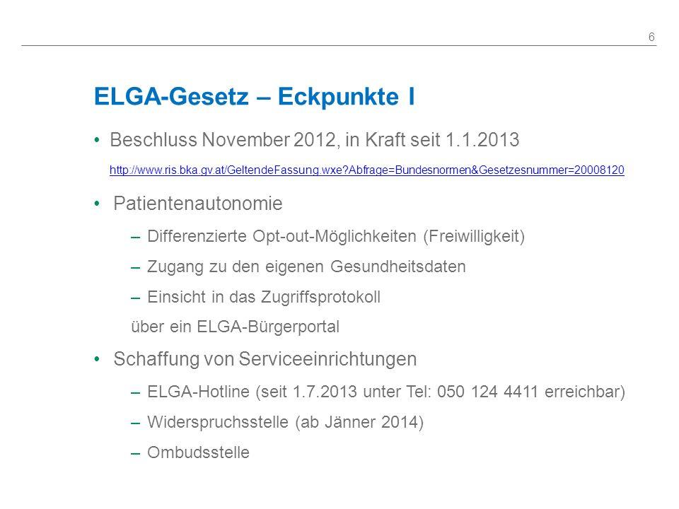 ELGA-Gesetz – Eckpunkte I Beschluss November 2012, in Kraft seit 1.1.2013 http://www.ris.bka.gv.at/GeltendeFassung.wxe?Abfrage=Bundesnormen&Gesetzesnu