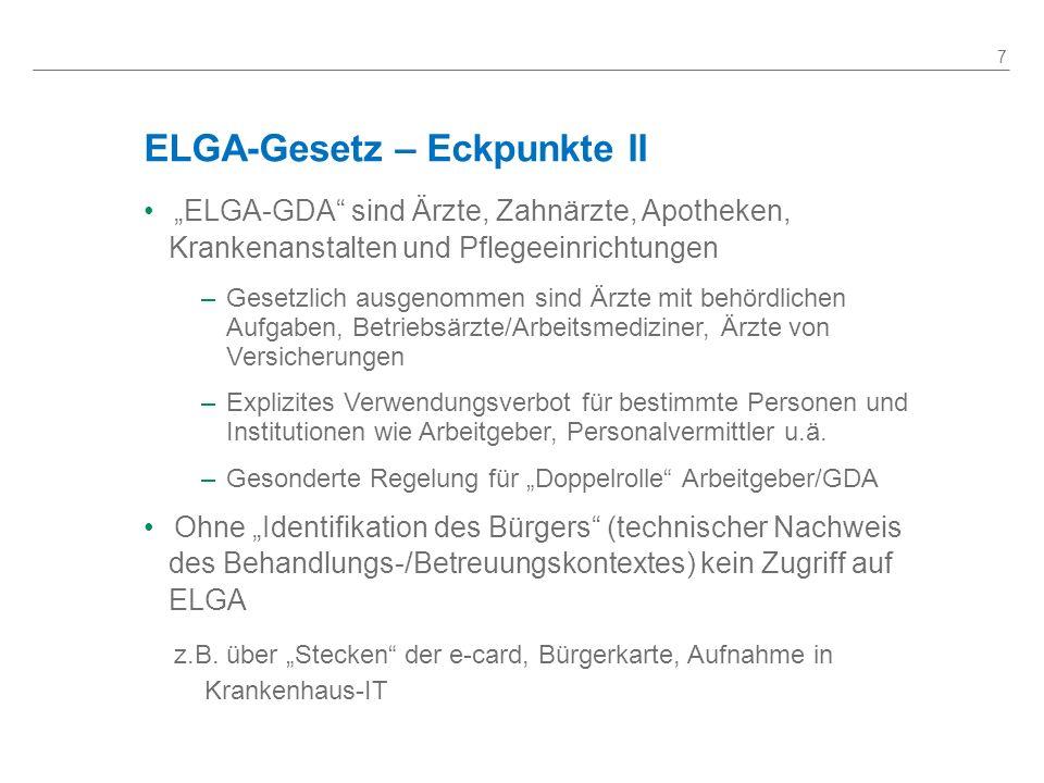 ELGA-Gesetz – Eckpunkte II ELGA-GDA sind Ärzte, Zahnärzte, Apotheken, Krankenanstalten und Pflegeeinrichtungen –Gesetzlich ausgenommen sind Ärzte mit