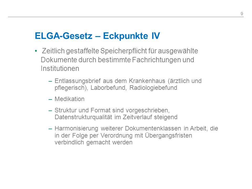 ELGA-Gesetz – Eckpunkte IV Zeitlich gestaffelte Speicherpflicht für ausgewählte Dokumente durch bestimmte Fachrichtungen und Institutionen –Entlassung