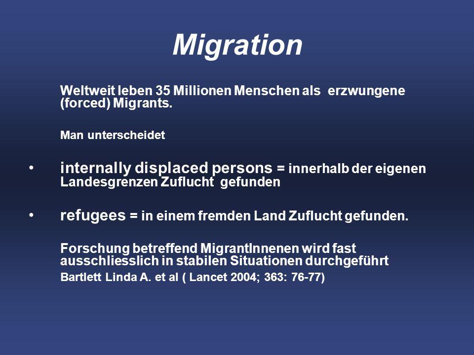 Migration Weltweit leben 35 Millionen Menschen als erzwungene (forced) Migrants.