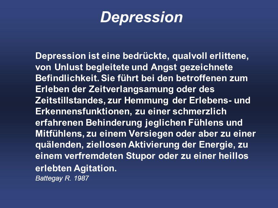 Depression Depression ist eine bedrückte, qualvoll erlittene, von Unlust begleitete und Angst gezeichnete Befindlichkeit.