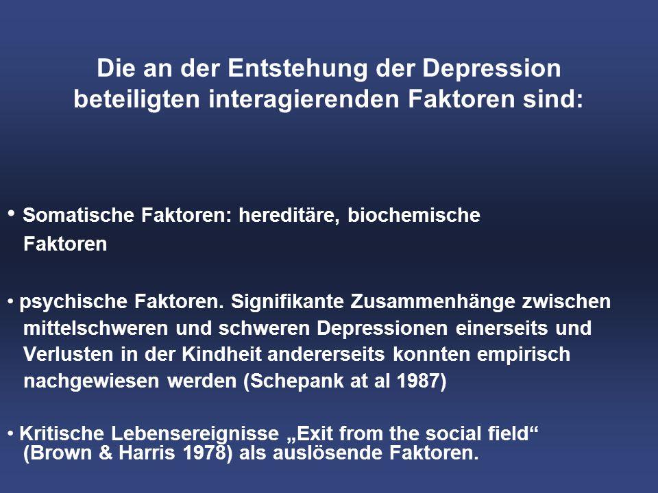 Die an der Entstehung der Depression beteiligten interagierenden Faktoren sind: Somatische Faktoren: hereditäre, biochemische Faktoren psychische Faktoren.