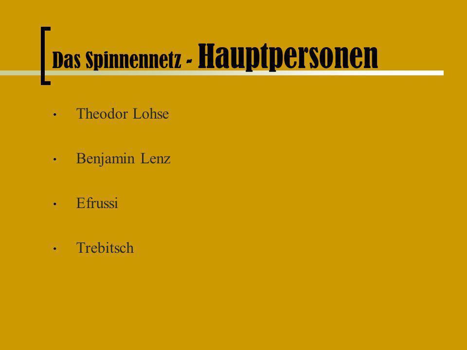Das Spinnennetz - Hauptpersonen Theodor Lohse Benjamin Lenz Efrussi Trebitsch