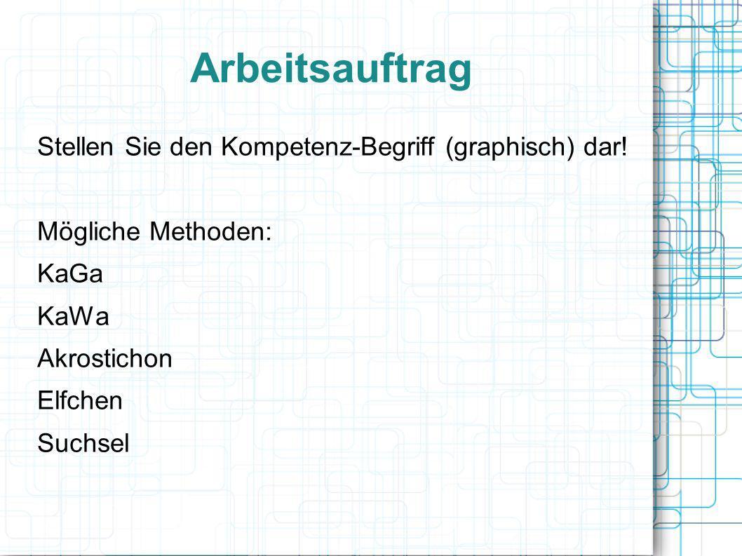 Arbeitsauftrag Stellen Sie den Kompetenz-Begriff (graphisch) dar! Mögliche Methoden: KaGa KaWa Akrostichon Elfchen Suchsel
