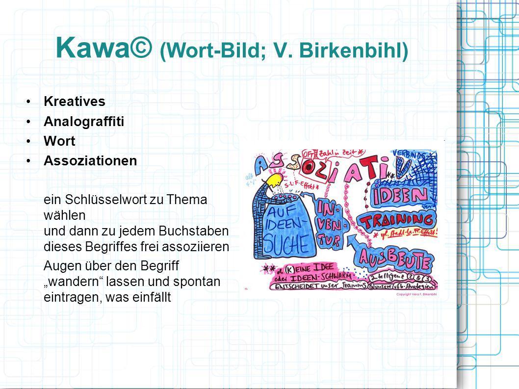 Kawa© (Wort-Bild; V. Birkenbihl) Kreatives Analograffiti Wort Assoziationen ein Schlüsselwort zu Thema wählen und dann zu jedem Buchstaben dieses Begr
