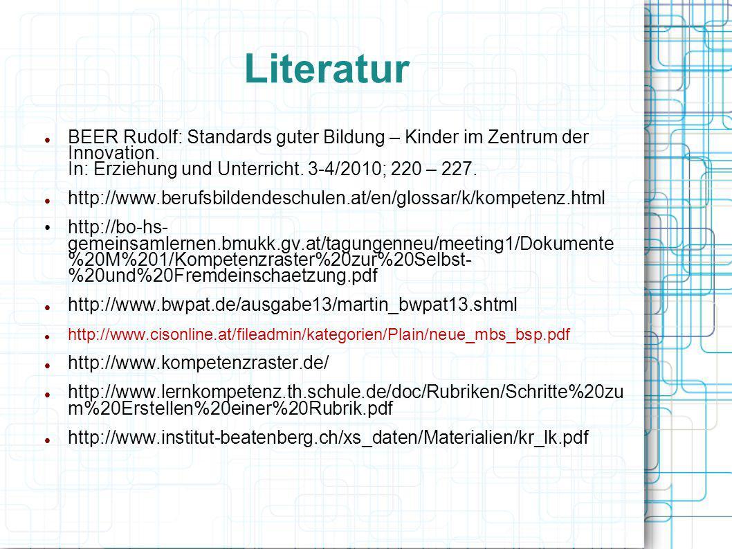 Literatur BEER Rudolf: Standards guter Bildung – Kinder im Zentrum der Innovation. In: Erziehung und Unterricht. 3-4/2010; 220 – 227. http://www.beruf