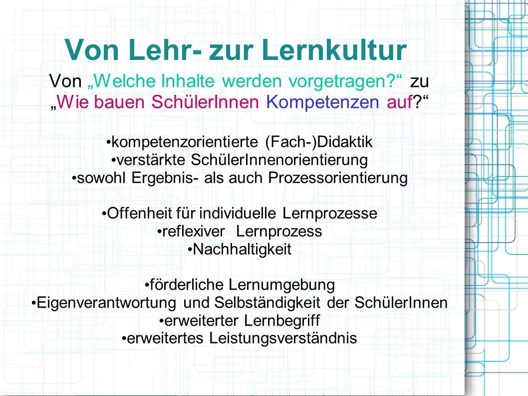 Erweiterter Lernbegriff Inhaltlich- fachliches Lernen Methodisch- strategisches Lernen Sozial- kommunikatives Lernen Persönlichkeits- lernen Wissen Verstehen Anwenden Analyse Synthese Bewerten Heuristische Strategien erwerben Informationen gewinnen Informationen verarbeiten Planen Strukturieren Präsentieren Zuhören Argumentieren Diskutieren Kooperieren Führen Integrieren Helfen Selbstvertrauen Engagement Zuverlässigkeit Verantwortung Selbsteinschät- zung Wertehaltung