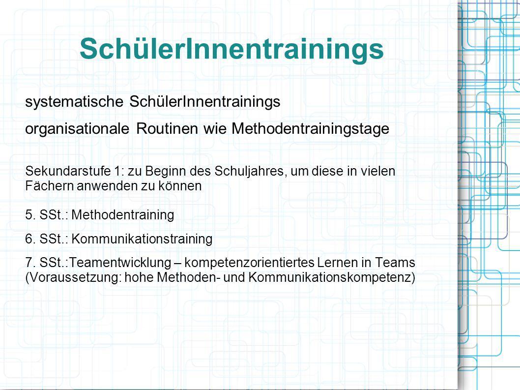 SchülerInnentrainings systematische SchülerInnentrainings organisationale Routinen wie Methodentrainingstage Sekundarstufe 1: zu Beginn des Schuljahre