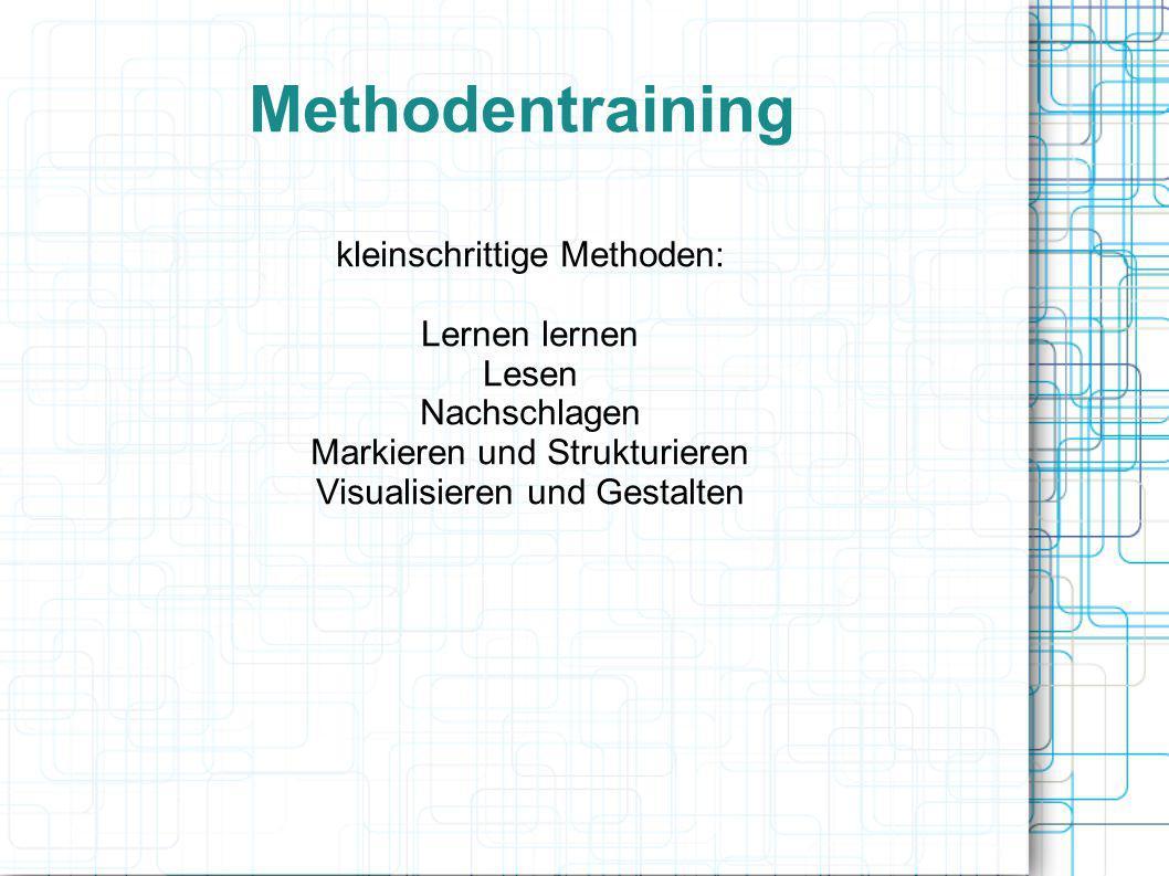 Methodentraining kleinschrittige Methoden: Lernen lernen Lesen Nachschlagen Markieren und Strukturieren Visualisieren und Gestalten