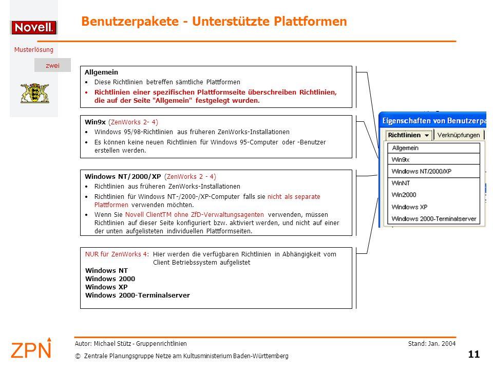 © Zentrale Planungsgruppe Netze am Kultusministerium Baden-Württemberg Musterlösung Stand: Jan. 2004 11 Autor: Michael Stütz - Gruppenrichtlinien Benu