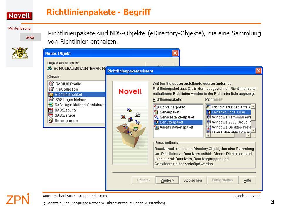© Zentrale Planungsgruppe Netze am Kultusministerium Baden-Württemberg Musterlösung Stand: Jan. 2004 3 Autor: Michael Stütz - Gruppenrichtlinien Richt