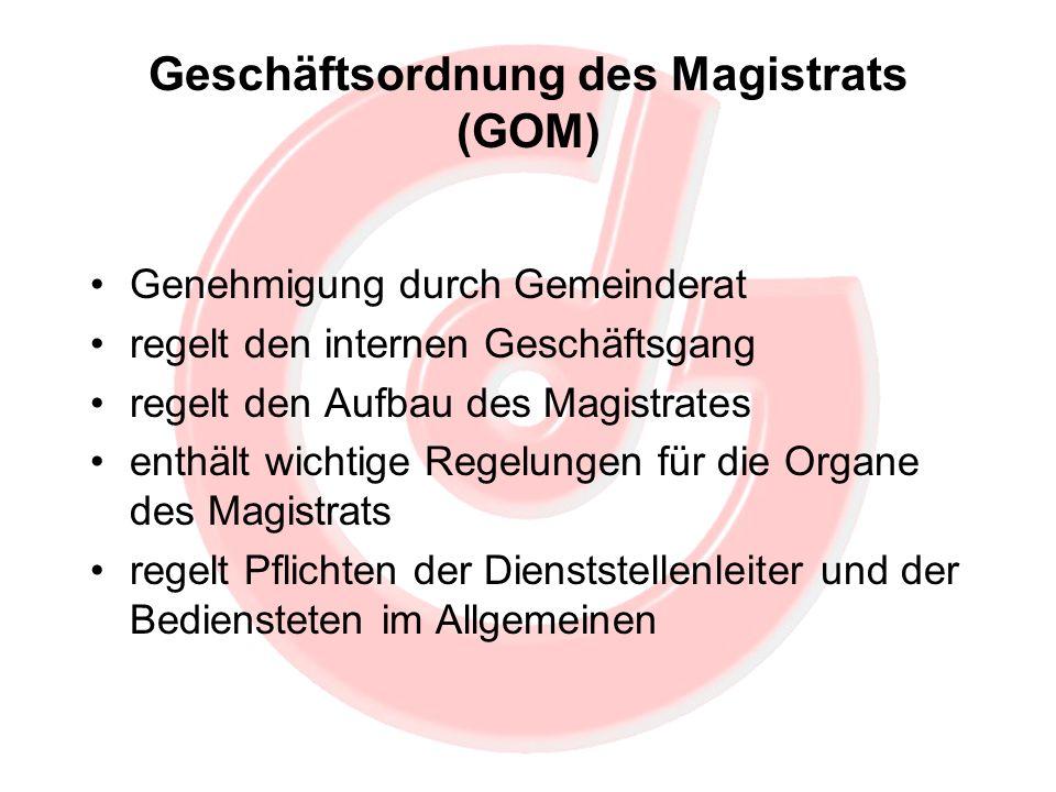 Geschäftsordnung des Magistrats (GOM) Genehmigung durch Gemeinderat regelt den internen Geschäftsgang regelt den Aufbau des Magistrates enthält wichti
