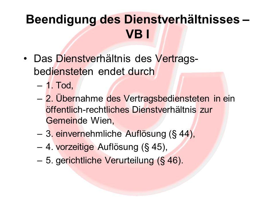 Beendigung des Dienstverhältnisses – VB I Das Dienstverhältnis des Vertrags- bediensteten endet durch –1. Tod, –2. Übernahme des Vertragsbediensteten